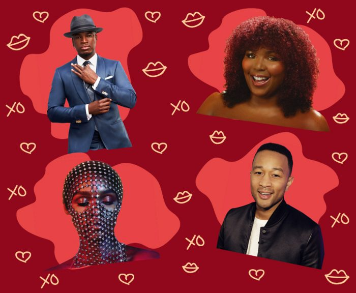 Cutouts of music artists Ne-Yo, Lizzo, Janelle Monae and John Legend over the Frisky February theme.