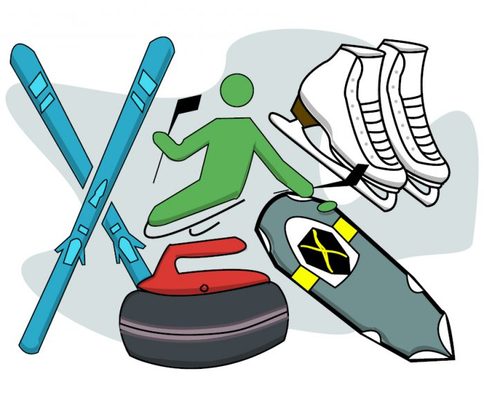 Icons of winter activities including skis, sled hockey, figure skates, snowshoes and curling.