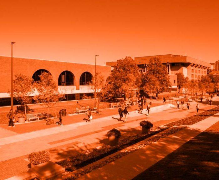 Schine Student Center from the Einhorn Family Walk overlayed in orange.