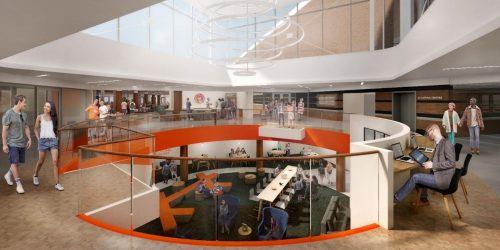 Artistic rendering of new Schine Student Center atrium