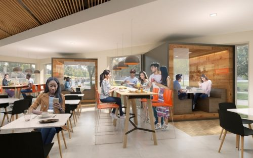 Artistic rendering of suggested seating options in the new schine dining experience