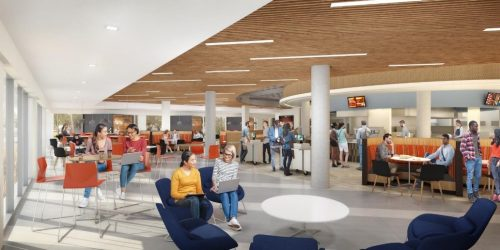 Artistic rendering of the new schine dining experience view from the atrium