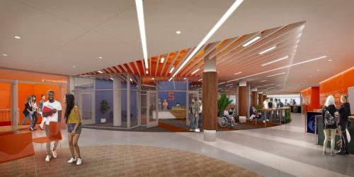 Artistic rendering of the new designated student organization space in Schine Student Center