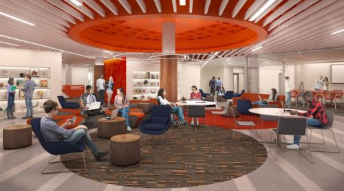Artistic rendering of new co-located space for cultural centers in Schine Student Center
