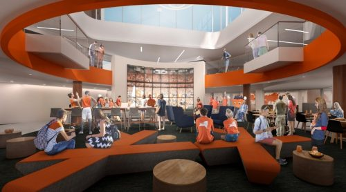 Artistic rendering of new lounge space in Schine Student Center featuring a media wall