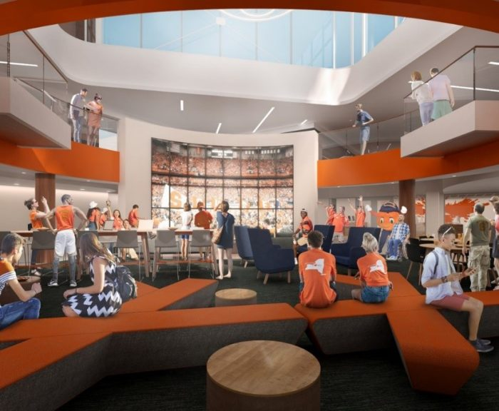 Artistic rendering of the lounge space for the co-located cultural centers in Schine Student Center