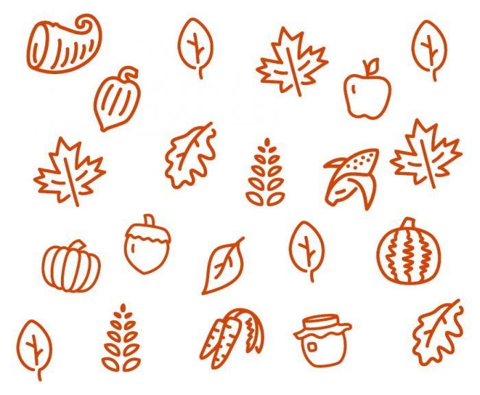 Icons of different fall themed items including leaves and produce.