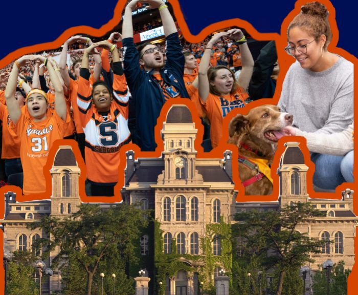 A collage of the hall of languages, the student section and pet therapy