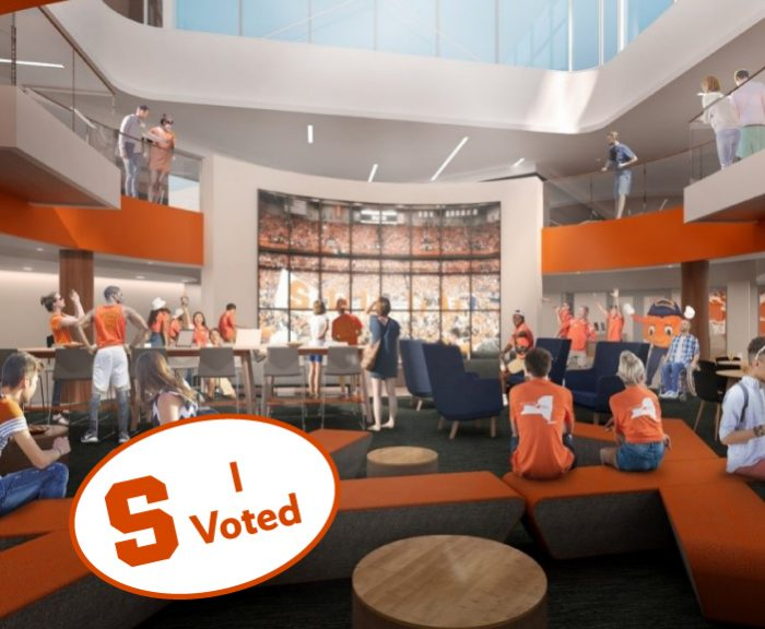 architecture rendering of the schine student center renovations with a sticker saying I Voted