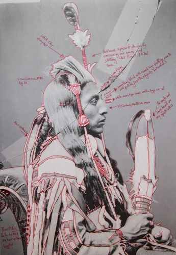 a portrait of an indigenous man with Red Star's line drawings