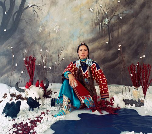 Red Star self portrait set in a winter theme and indigenous imagery