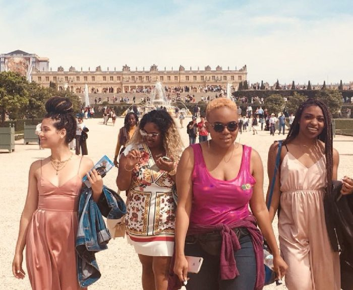 Victoria and her friends stroll the Versailles Palace Gardens