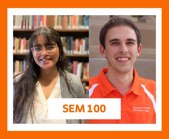 Portraits of S E M 100 peer facilitators Cassandra Rodriguez and Kyle Rosenblum