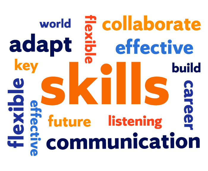 a word cloud with skills communication adapt grow employment collaborate etc.