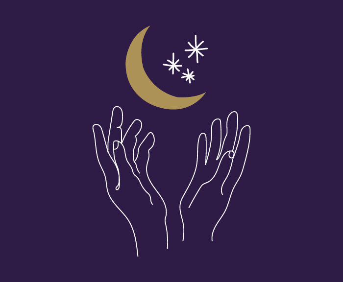 A line drawing of hands holding a crescent moon and stars