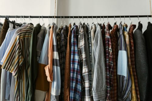 A rack of flannel button downs.