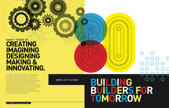 "Sarah Peng's ""Building Builders for Tomorrow"" celebrates LEGO's 80th anniversary and its successes of fueling children's creative endeavors. It was named one of eight winners of the Society of Publication Designers Student Outreach Committee Spotlight Online Gallery Show"