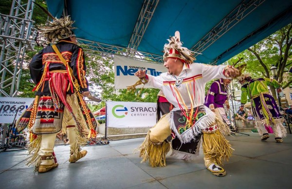 Haudenosaunee performers show their artistry during last year's Stage of Nations Blue Rain ECOfest in downtown Syracuse. The event returns this Friday and Saturday.