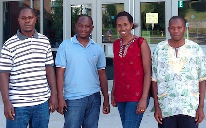Four Rwandan teachers are taking a distance certificate program at the iSchool now, with the goal of increasing teacher-librarianship in their country. From left: Bernard Bahati; Jean Pierre Mugiraneza, Chantal Dusabe, Bakai Kabeba.