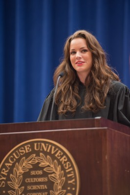 Student Association President Alexandra Curtis recalls her first days on campus during the Chancellor's Convocation for new students.