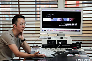 Film graduate student JuneKyu Park (Q) presents his work at the International Filmmaking Academy in Bologna, Italy. Photo by Mali Erotico Photography.