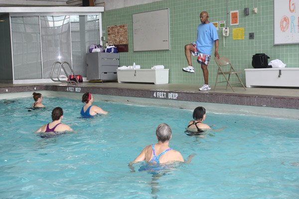 Ali Prettyman leads a water exercise class.