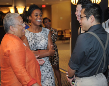 Students, faculty and staff gather last fall for a networking reception for the fullCIRCLE mentoring program.
