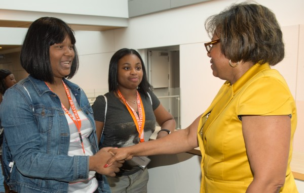 Newhouse Dean Lorraine Branham greets members of the 360i/Harlem Children's Zone/Newhouse School Summer Immersion Pilot Program when they visited campus on July 29 and 30.