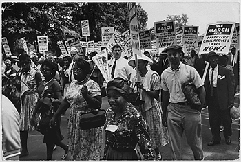 Marchers converge on the National Mall on Aug. 28, 1963.