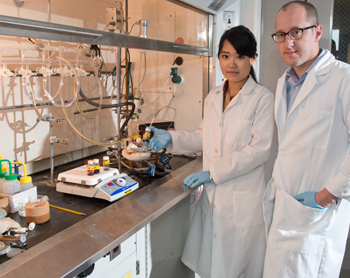 Associate Professor Mathew M. Maye, right, with research assistant Wenjie Wu G'11, G'13