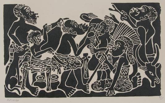 """Edward Francis Kilza, """"Mazumguzo ya Family"""" [Family Conversation], 1995"""