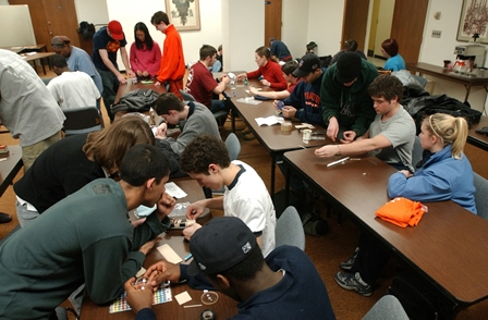 L.C. Smith College of Engineering and Computer Science students using class time to work on a group problem-solving activity.