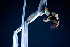 Sora Sol of CirqOvation performs an aerial act. (Photo by Rose Marincil)