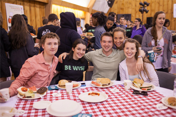 Students enjoy the first annual BE-BQ last spring at the Skybarn on South Campus. Photo by Drew Osumi.