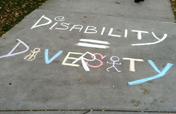 The Disability Student Union chalks the quad on Oct. 22, 2012.