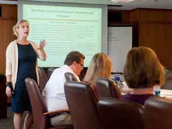 Cynthia Maxwell Curtin, recently appointed associate vice president for Human Capital Development, leads a workshop on respect, diversity and inclusion.
