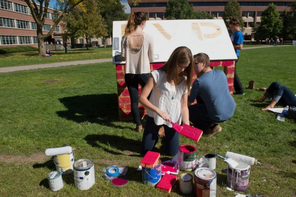 Students had only the basic of materials—wood frames, hammer and nails, and paint—to complete their shacks in which many students spent the night in to help raise awareness about poverty housing in the United States and abroad.