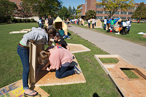 "The Quad was alive with the sound of hammers Wednesday as students built ""shacks"" as part of Shack-A-Thon events, which runs through Friday."