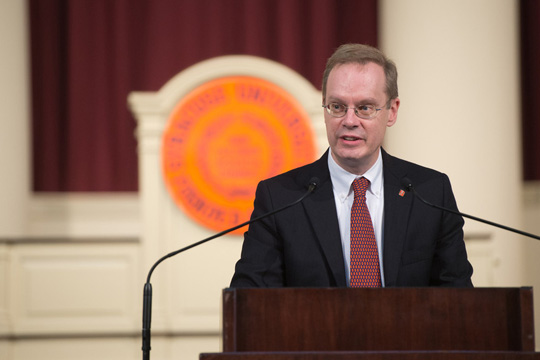 Chancellor-designate Kent D. Syverud addresses the campus community at Hendricks Chapel.