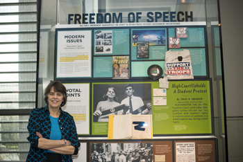 "Mary Beth Tinker was a 13-year-old junior high school student when she and other students wore black armbands to school in protest of the Vietnam War. After being suspended, they sued the school district on First Amendment grounds. Their case eventually went to the U.S. Supreme Court, which issued a landmark opinion in Tinker v. Des Moines Independent Community School District (1969), ruling that students do not ""shed their constitutional rights to freedom of speech or expression at the schoolhouse gate."""