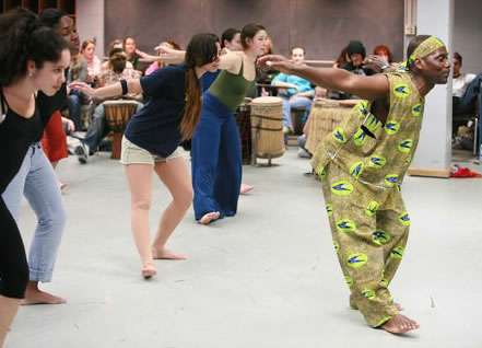 Ouikahilo teaching a West African Dance Workshop at Ithaca College