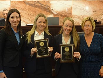 Left to right : Executive Director of Moot Court Honor Society Kristin Volpicella, Gracie Wright, Samantha Robbins, Professor Lucille Rignanese L'99.