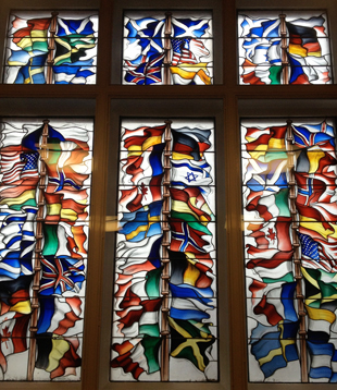 This stained glass mural in the Lockerbie Town Hall represents the 32 nationalities of victims aboard Pan Am Flight 103.
