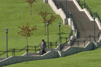 Get a workout. Scale the steps from University Place up to Crouse College.