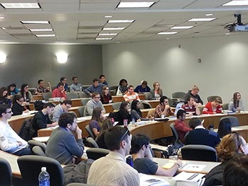 Law students listen to information about the new Washington, D.C., externship program.