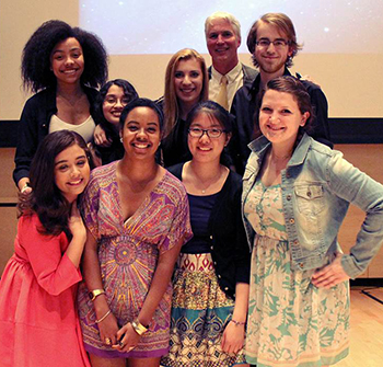Pictured: front row (from left): Alina Rayas, Breanna Andrade, Frances Huang, Tara McHugh; back row (from left): Shanice Bland, Sophia Bravo, Emily Bailey, Professor Michael Schoonmaker, Trevor Bulger