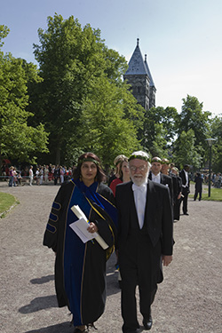 Chandra Mohanty in the procession to receive an honorary doctorate at Lund University in Sweden.