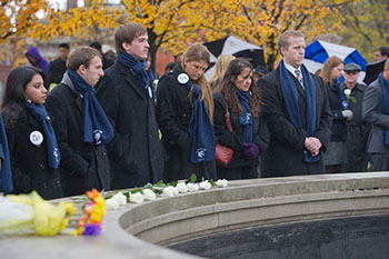 Remembrance Scholars honor the lost students they represent during the 2012 Remembrance ceremony.