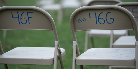 Empty chairs on the Quad in the configuration of the seats on Pan Am 103 symbolized SU's 35 lost students.
