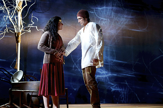 Nadine Malouf (Nawal) and René Millán (Wahab/Nihad) in the Syracuse Stage production of Scorched.